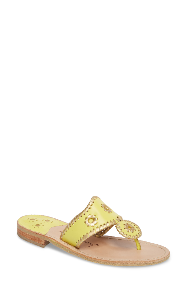 fb4aa0045e2e Jack Rogers Hollis Leather Thong Sandals In Lemon Leather