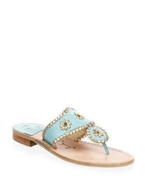 266cf30e017d Jack Rogers Hollis Leather Thong Sandals In Sea Foam Gold