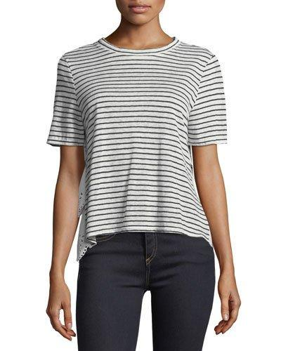 Joie Mikiyo Striped Linen Eyelet Back Tee In Porcelain/Dark Navy