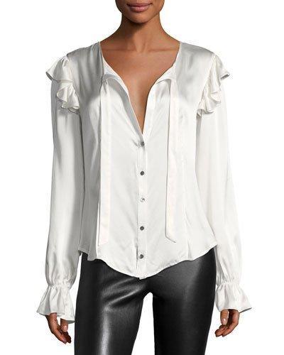 88b0c06ce11908 Cinq À Sept Cassanova Tie-Neck Button-Front Silk Satin Blouse In Ivory