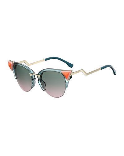 8ed1f6a170 Fendi Semi-Rimless Cat-Eye Gradient Sunglasses W  Pyramid Detail In Blue