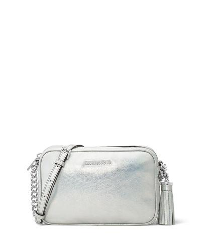 16b2eb7381c3 Michael Michael Kors Ginny Medium Metallic Camera Bag In Silver ...