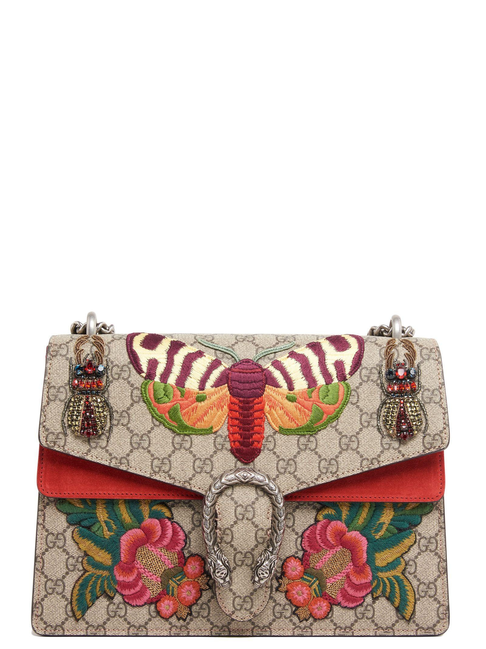 253d1f745 Gucci Dionysus Moth Medium Gg Supreme Shoulder Bag In Multicolor ...