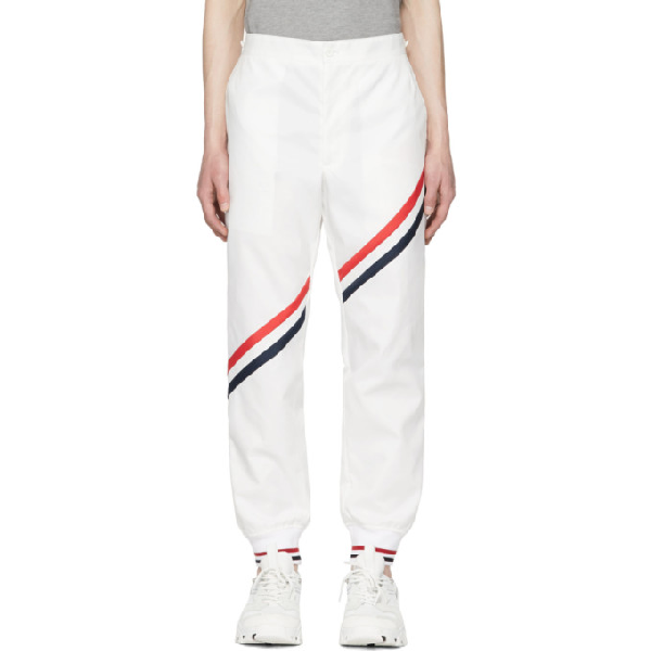 Thom Browne Unconstructed Side Tab Rib Knit Track Trouser With Seamed In Diagonal Stripe In Nylon Tech In 100 White