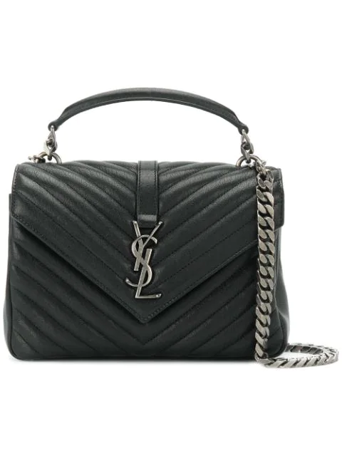 Saint Laurent Storm Grey And Silver Elegant Monogram CollÉGe Quilted Leather Satchel In Black