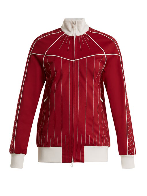 Valentino Stitching Techno Gabardine Track Jacket In Red