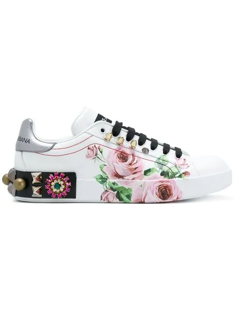 97580dbae7 Dolce & Gabbana Portofino Sneakers In Printed Calfskin With AppliquÉS In  White