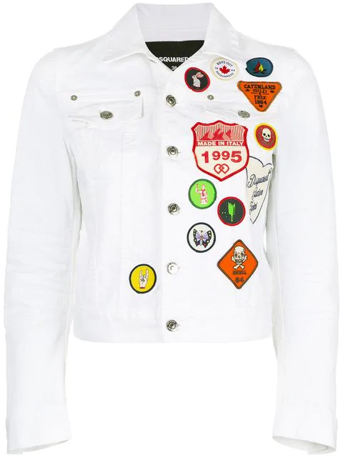 Dsquared2 Scout Patches Cotton Denim Jacket In White