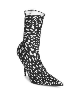 5115621d398e Balenciaga Animal-Print Booties In Ivory Black   ModeSens