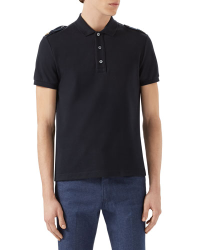 7711ff401 Gucci Slim-Fit Bee-AppliquÉD Stretch-Cotton PiquÉ Polo Shirt In Navy ...