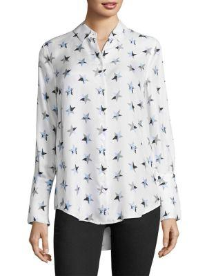 fc035a91a80932 Equipment Rossi Button-Front Star-Print Flare-Cuff Shirt In White ...