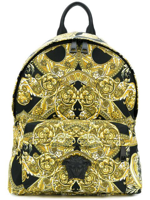 23e267864b Versace Baroque Printed Backpack - Yellow | ModeSens