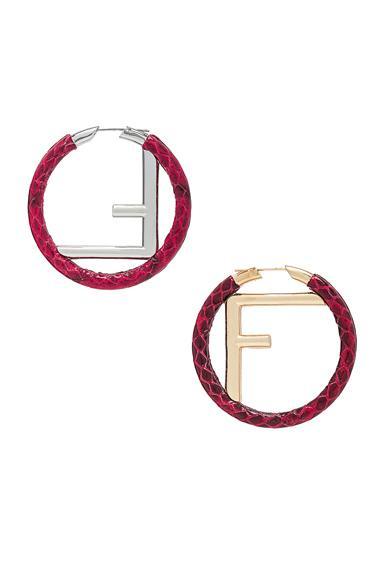 fb7942c0c Fendi Ff Snakeskin Hoop Earrings In Red, Animal Print. In Strawberry ...