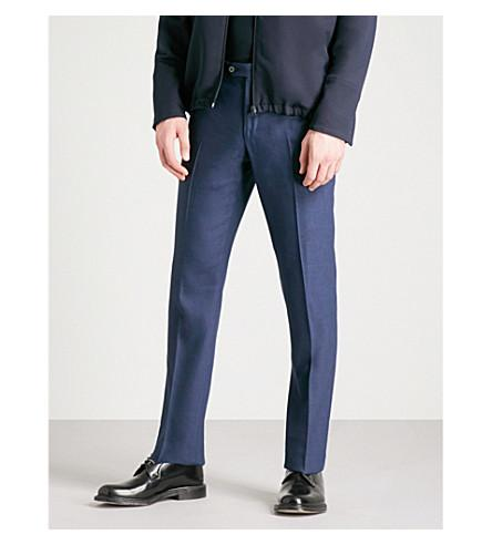Corneliani Tailored-Fit Straight Linen And Wool-Blend Pants In Navy