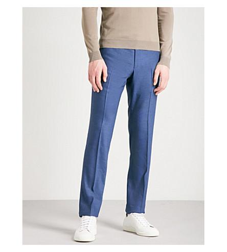 Corneliani Tailored-Fit Straight Linen And Wool-Blend Pants In Blue