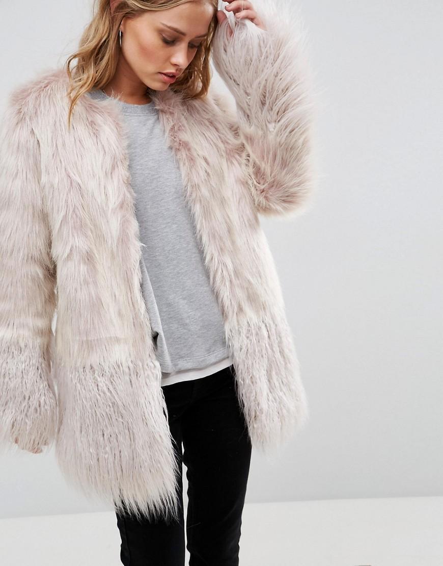 62a43566f97d Urbancode Coat In Mongolian Faux Fur Mix - Pink | ModeSens