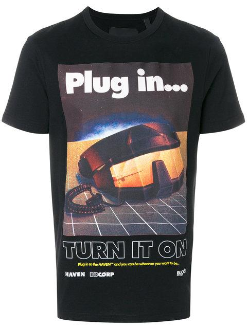 Blood Brother Plug In Printed Cotton T-Shirt In Black