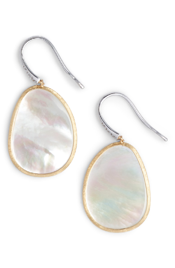 20160942342a66 Marco Bicego 18K White & Yellow Gold Lunaria Mother-Of-Pearl & Diamond  Earrings