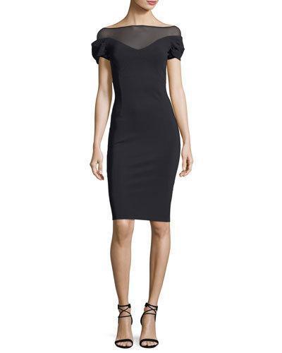 Chiara Boni La Petite Robe Analissa Illusion Short-sleeve Cocktail Dress In Black