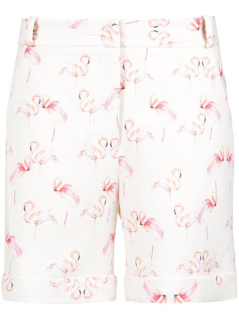 Olympiah Flamingo Print Tailored Shorts In White
