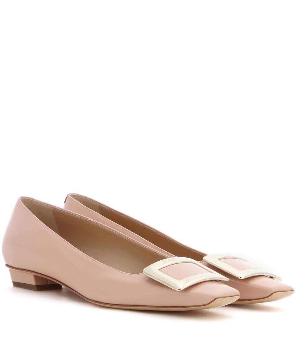 Roger Vivier Belle Vivier Patent Leather Ballet Flats In Rosa Salmoe
