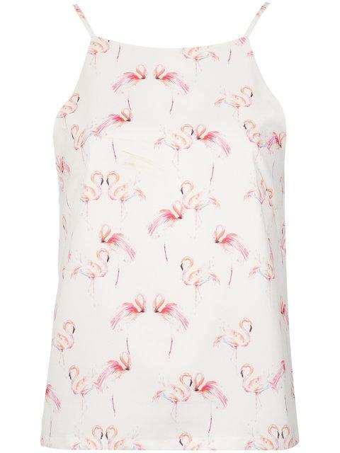 Olympiah Flamingo Print Top In White