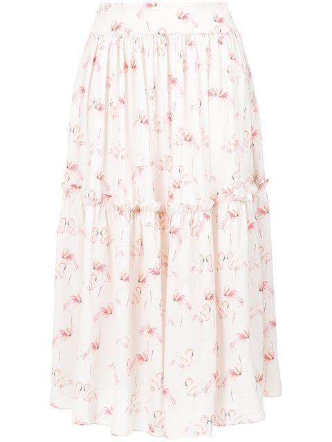 Olympiah Flamingo Print Midi Skirt In White