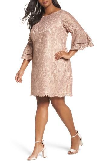 Ruffle Cuff Lace Shift Dress In Blush