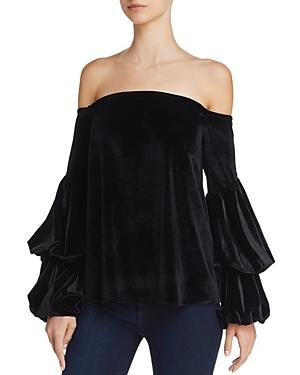 Petersyn Lily Off-The-Shoulder Velvet Top In Onyx