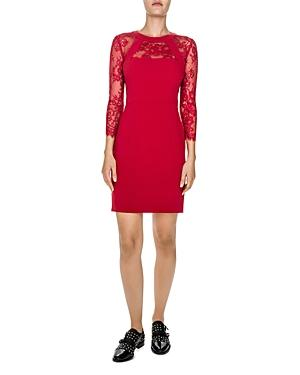 The Kooples Lace-Inset Sheath Dress In Red