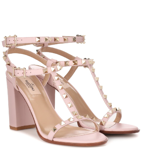 a9736abac70 Valentino Rockstud T-Strap 90Mm Sandals In Pink