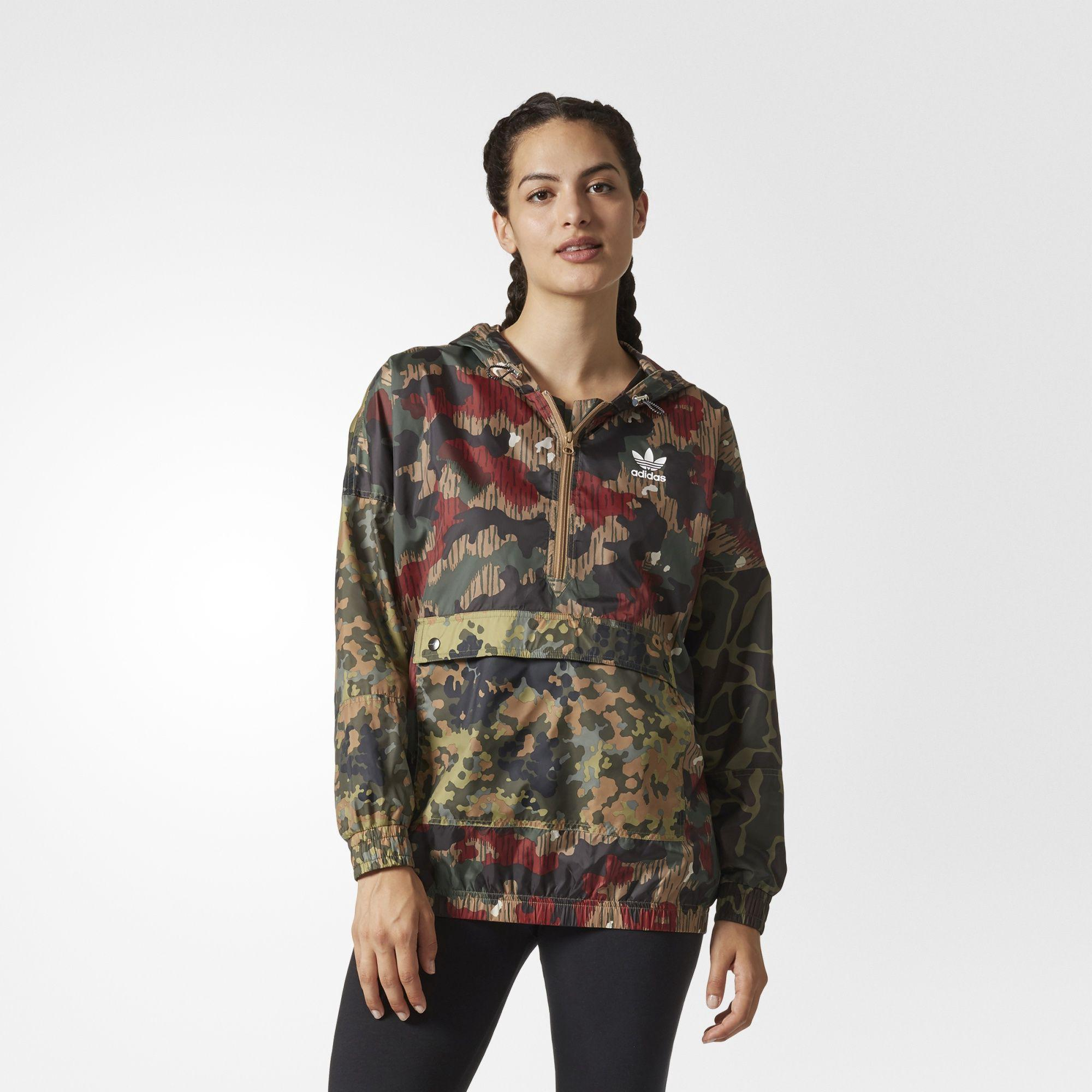 7211f0dd22514 Originals By Pharrell Williams Hu Hiking Camo Logo Windbreaker in Camo Clash