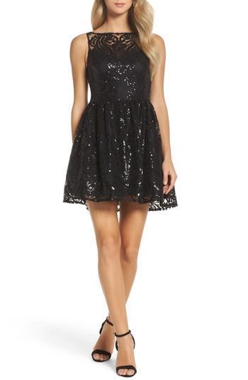e7933a73 Bb Dakota Tate Sequin Lace Fit & Flare Dress In Black | ModeSens