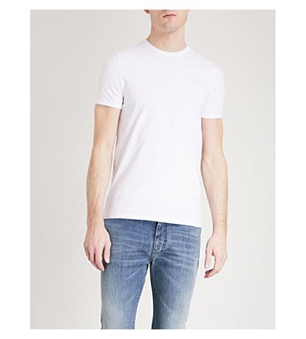 Emporio Armani Logo-Print Cotton-Jersey T-Shirt In White