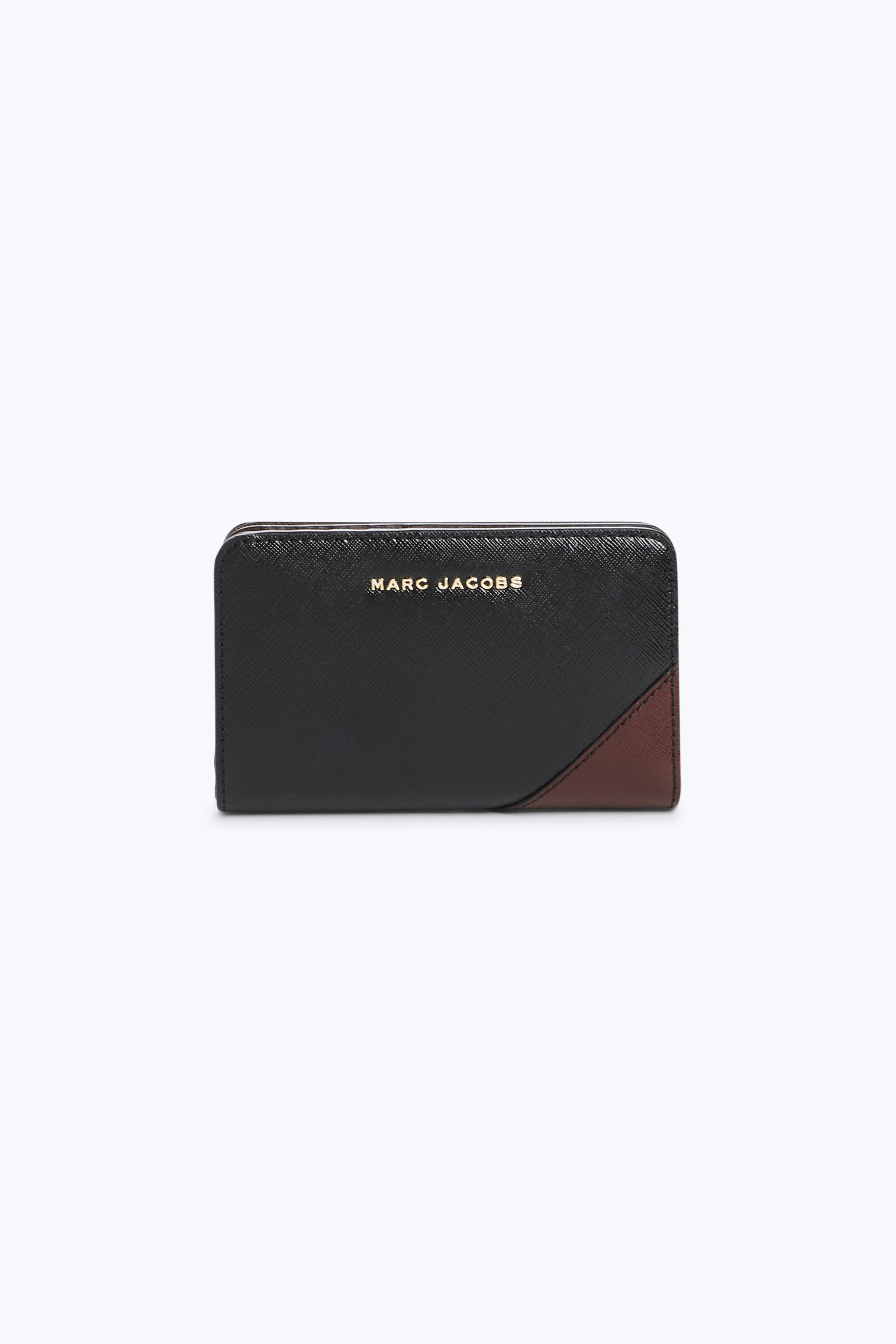 Marc Jacobs Saffiano Metal Letters Compact Wallet In Black Multi