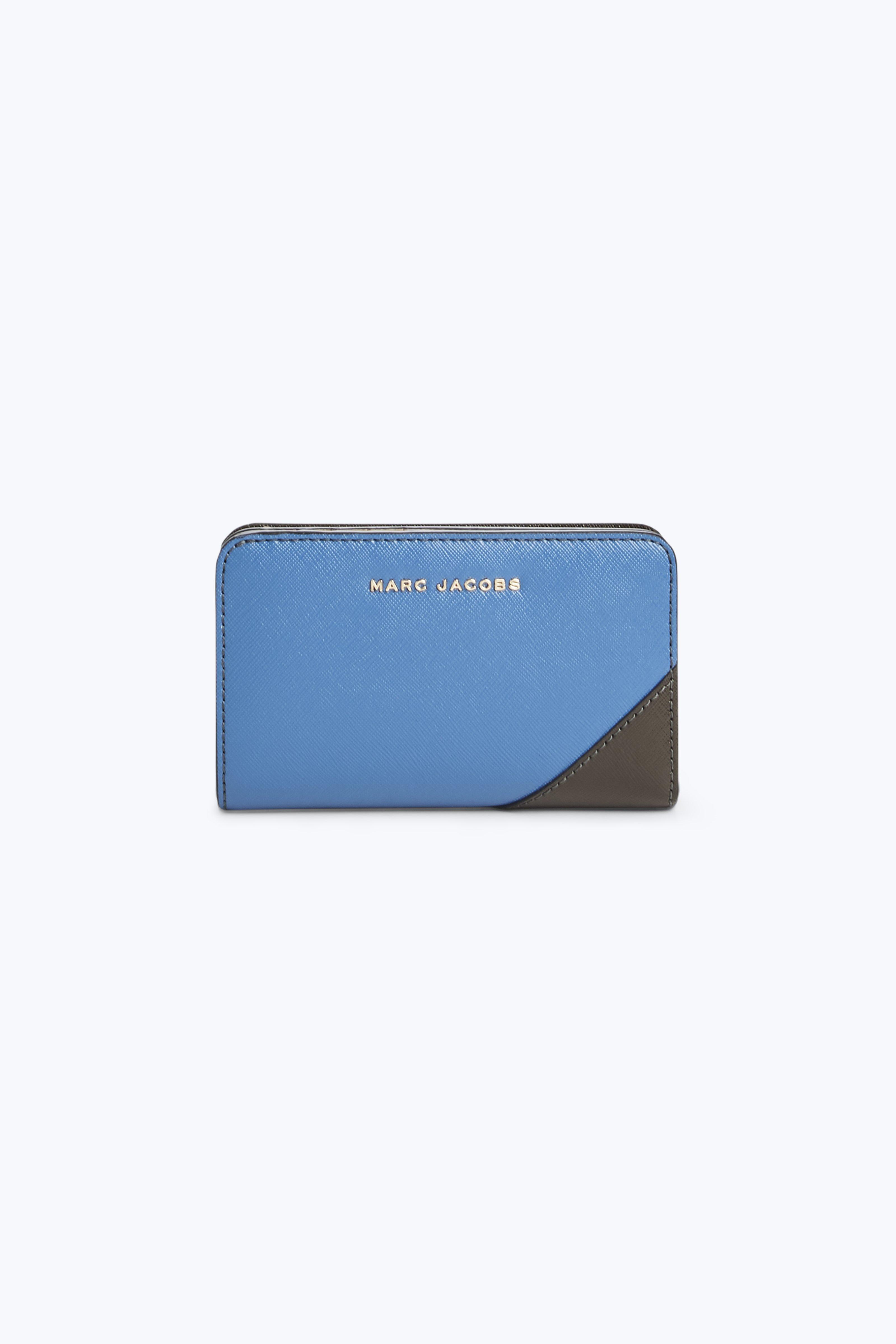 Marc Jacobs Saffiano Metal Letters Compact Wallet In Vintage Blue Multi Modesens