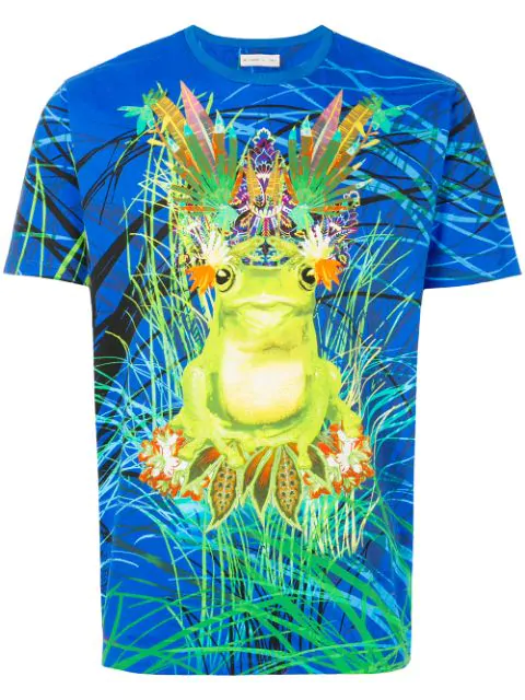 Etro Psychedelic Frog Cotton Jersey T-Shirt In Blue