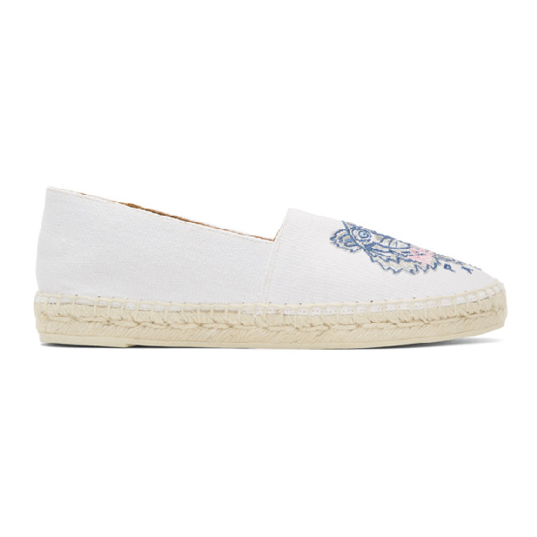 8d90510f99 Kenzo Off-White Tiger-Embroidered Canvas Espadrilles In 01 - Canvas ...