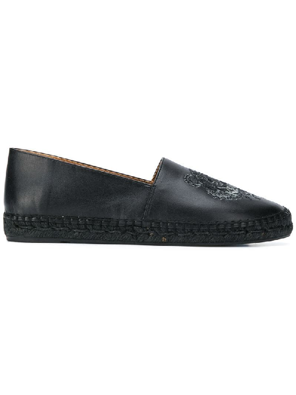 Kenzo Leather Tiger Embroidered Espadrilles In Black