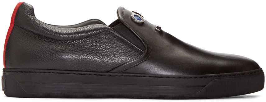 Fendi Faces Smooth Leather Slip-on Sneakers, Black