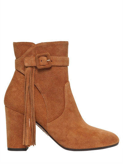 Aquazzura 85mm Christina Suede Boots With Fringe In Tan