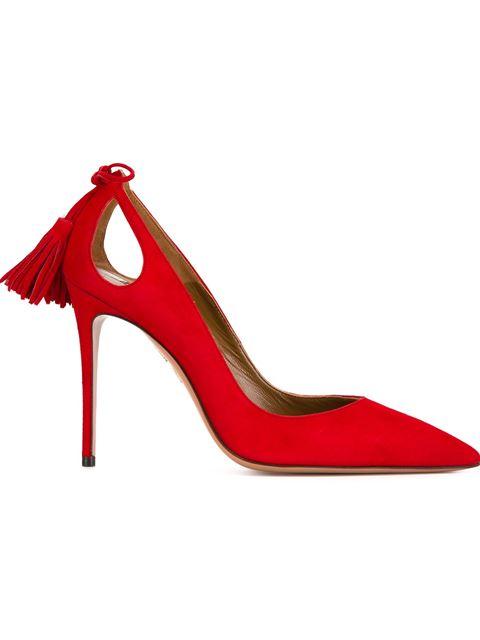 Aquazzura Forever Marilyn Suede Heels In Red.