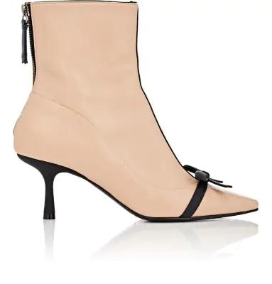Fabrizio Viti Mademoiselle Deneuve Leather Ankle Boots - Beige, Tan