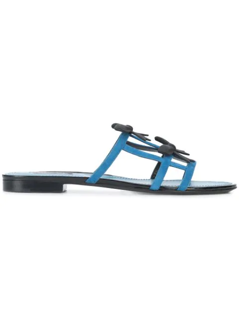 Fabrizio Viti City Bow Suede Slide Sandals - Blue