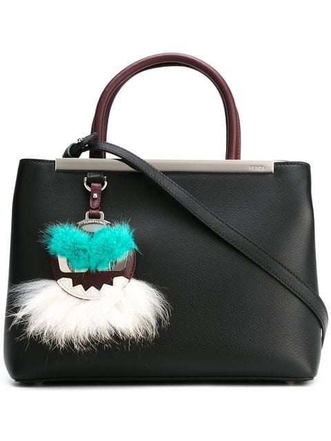 Fendi 'petite 2jours' Leather Shopper With Genuine Mink Fur & Genuine Fox Fur Monster Charm In Black