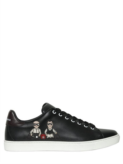 Dolce & Gabbana London Designers Patch Leather Sneakers, Black