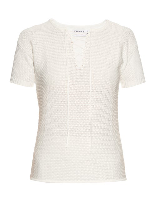 Frame Le Crochet Lace-up Knitted Modal And Cotton-blend Top In Ivory