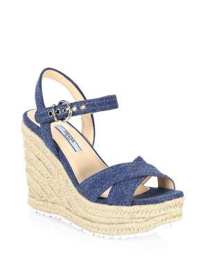 Prada Denim & Raffia Wedge Sandals In Blue