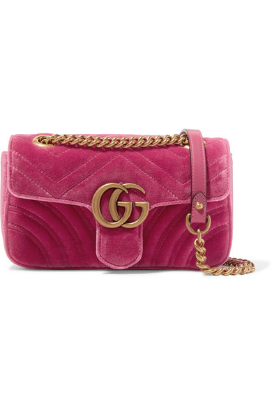 dbc455a1d9df6 Gucci Gg Marmont Mini Quilted-Velvet Cross-Body Bag In 5532