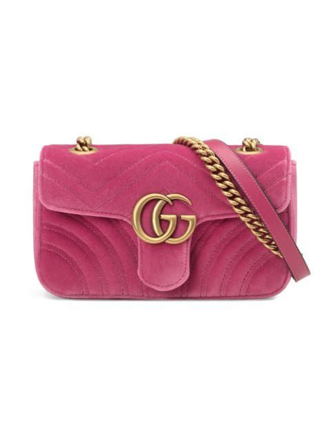 d52c16ca8 Gucci Gg Marmont Mini Quilted-Velvet Cross-Body Bag In Pink | ModeSens